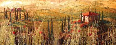 Tuscan Hills Painting - View Of Tuscany by Christopher Clark