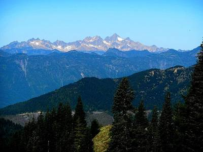 View Of Twin Sisters From Sauk Mountain Art Print by Karen Molenaar Terrell