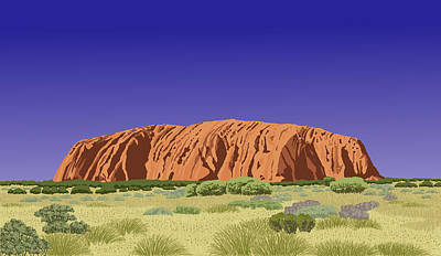 Painting - View Of Uluru / Ayers Rock by David Burkart