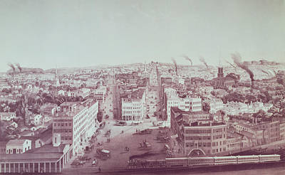 Rooftop Photograph - View Of Utica City, New York State, Engraved By D.w. Moody, Pub. By F. Michelin, C.1850 Litho by American School
