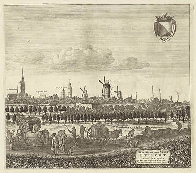 Extremes Drawing - View Of Utrecht From The West Plate Iv by Herman Saftleven And Reinier & Josua Ottens