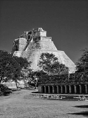 James Bond Photograph - View Of Uxmal 01 Bw by James  Bond