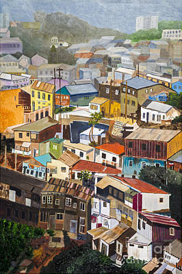 View Of Val Pariso Chile By Stan Bialick Art Print by Sheldon Kralstein