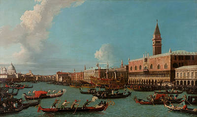 Bell Tower Painting - View Of Venice With The Doge Palace And The Salute by Canaletto