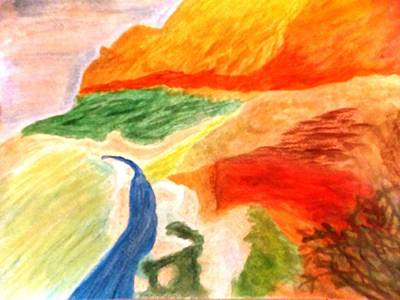Zion National Park Mixed Media - View Of Virgin River-utah by Pasha Sourbeer