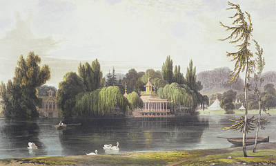 Temple Drawing - View Of Virginia Water With Garden by William Daniell