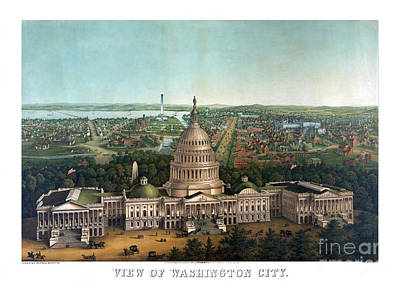 Cartography Painting - View Of Washington City - 1869 by Pablo Romero