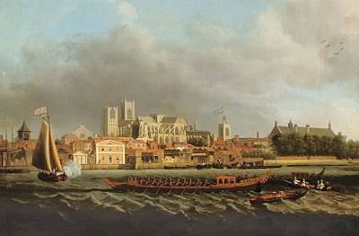 View Of Westminster From Lambeth With A Royal Barge In The Foreground Oil On Canvas Art Print