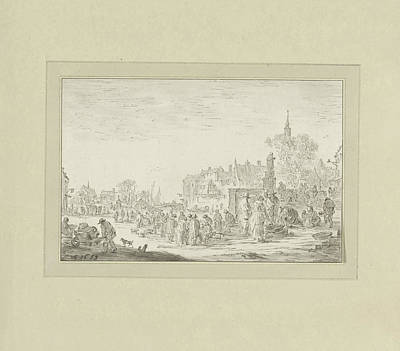 Work On Paper Drawing - View On A Fish Market In A City, Johannes Körnlein by Quint Lox