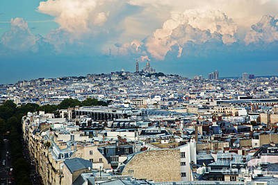 Sacre Coeur Photograph - View On Montmarte And Sacre Coeur Basilica Paris France by Michal Bednarek