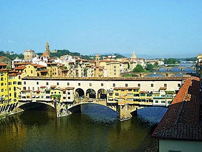 View On Ponte Vecchio From Uffizi Gallery Art Print