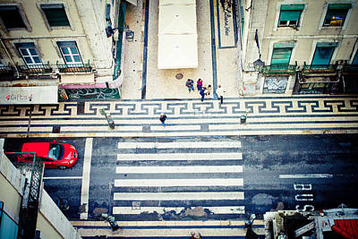 Fun Patterns - view on street from roof Lisbon city by Raimond Klavins