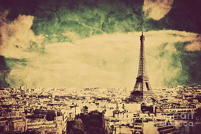Paris Skyline Royalty-Free and Rights-Managed Images - View on the Eiffel Tower and Paris France Retro vintage style by Michal Bednarek