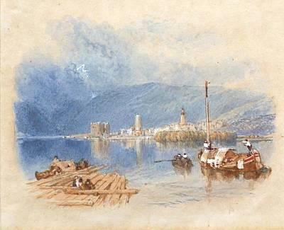 Switzerland Painting - View On The Lake Of Thun Switzerland by MotionAge Designs