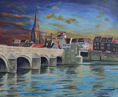 Sint Servaasbrug Painting - View On Wyck East Bank Maastricht by Nop Briex