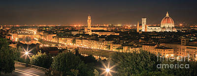 View Over Florence After Sunset Print by Henk Meijer Photography