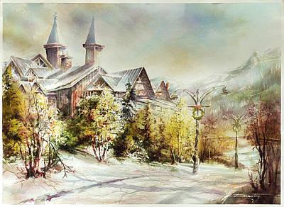 Whistler Mixed Media - View Over Wistler Village Gate by Dumitru Barliga