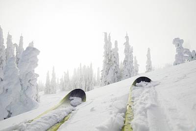 Chair Lift Photograph - View Past Ski Tips To Fresh Snow Clad by Philip & Karen Smith / TFA