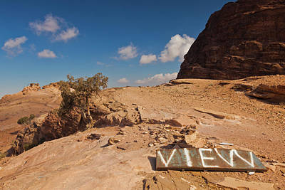 Petra Photograph - View Point Sign, Ad Deir Monastery by Panoramic Images