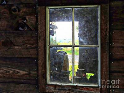 Split Rail Fence Photograph - View Through A Barn Window by Marcia Lee Jones