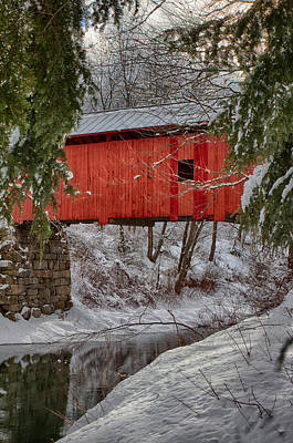 Photograph - View Through The Boughs Of Vermont Covered Bridge by Jeff Folger