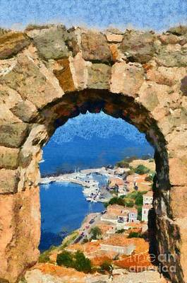 Painting - View Through The Castle In Molyvos by George Atsametakis