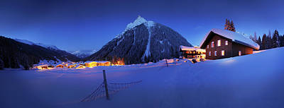 Ski Resort Photograph - View To Gargellen At Night, Montafon by Jan Greune / Look-foto
