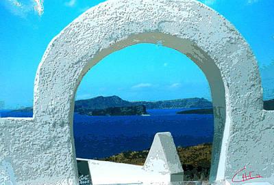 View To Thirasia Island From Santorini Island Greece Art Print