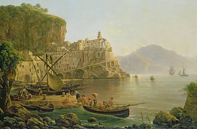Amalfi Painting - View Towards Atrani On The Amalfi by Joseph Rebell