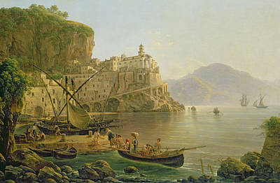 Mediterranean Village Painting - View Towards Atrani On The Amalfi by Joseph Rebell