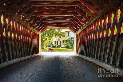 Bennington Photograph - View Through A Covered Bridge by George Oze