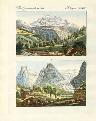 Mountain View Drawing - Views Of Switzerland by Splendid Art Prints