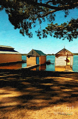 Overhang Digital Art - Views From The Lake II - Boathouses by Chris Armytage