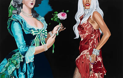 Lady Gaga Art Painting - Vigee Lebrun And Gaga by Marcella Lassen