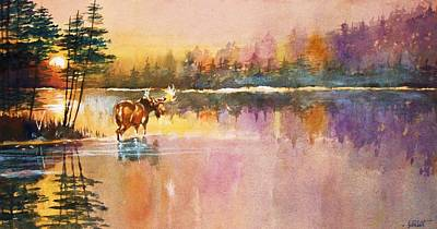 Painting - Vigil In The Shallows At Sunrise by Al Brown