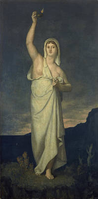 Oil Lamp Photograph - Vigilance, 1867 Oil On Canvas by Pierre Puvis de Chavannes