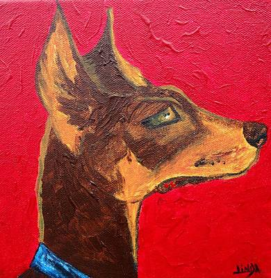 Doberman Pinscher Puppy Painting - Vigilant by Linda Hill