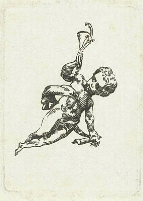 Trombone Drawing - Vignette With Putto With Trumpet And Palm by Willem Bilderdijk