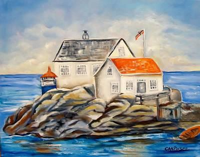 Vikeholmen Lighthouse II Art Print by Carol Allen Anfinsen