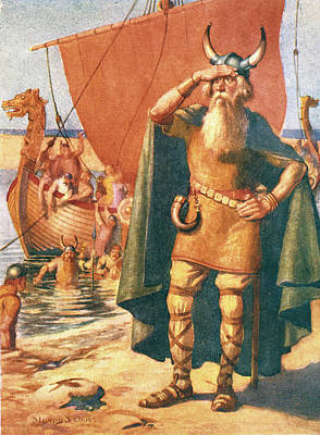 Viking Ship Painting - Viking Explorers Landing On An Unknown by Vintage Images