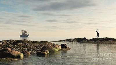 Viking Longship - Homeward Bound Art Print by Fairy Fantasies