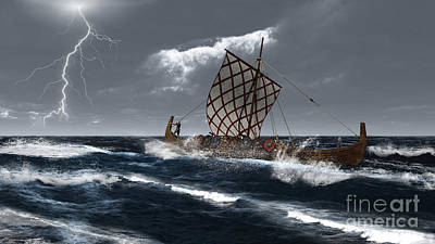 Viking Longship In A Storm Art Print by Fairy Fantasies