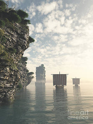 Viking Longships In Unknown Waters Art Print by Fairy Fantasies