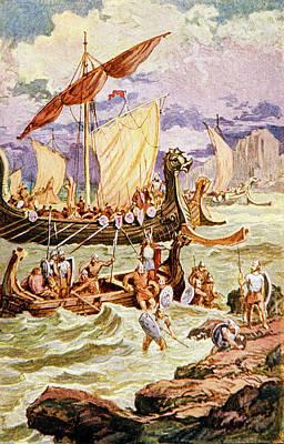 Viking Ship Painting - Viking Norsemen Ships Landing Warriors by Vintage Images