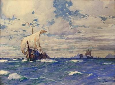 Viking Ship Painting - Viking Ships At Sea by Pg Reproductions