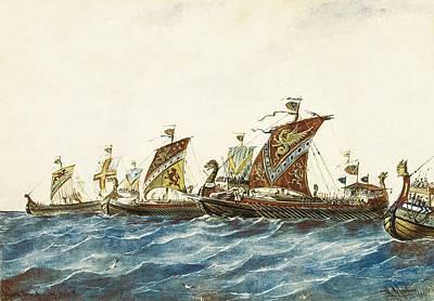 Viking Ships Of The King Olaf I Art Print by Everett