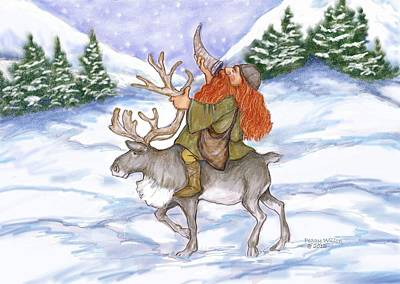 Viking With Reindeer Art Print by Peggy Wilson