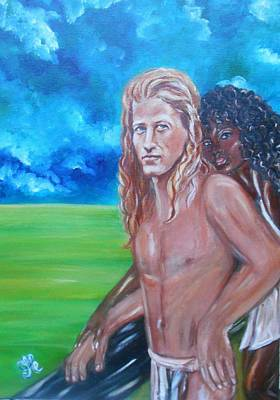 Vikings In America B.h.  - Interracial Lovers Series Art Print