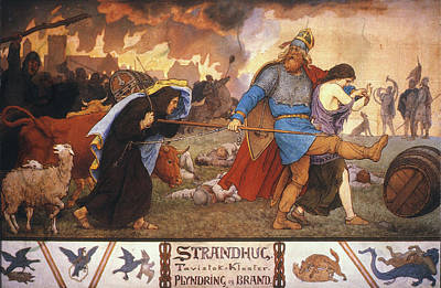 Thief Painting - Vikings Plundering A Monastery by Granger