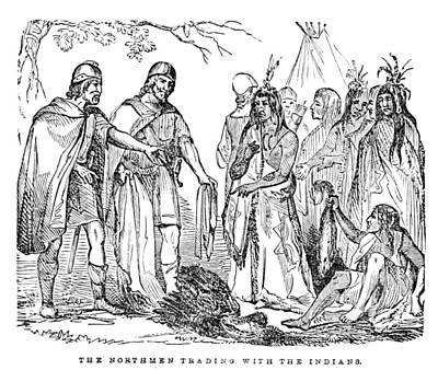 Norsemen Photograph - Vikings Trading With Native American by British Library